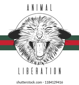 Fashion Vector illustration. Design and print for T-shirts on the theme of the struggle for animal rights, Wild Power. T shirt for vegans. A furious cat in the style of ink. Animal liberation logo