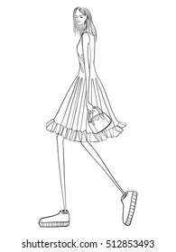Fashion vector illustration, model posing, modern clothes, girl in dress