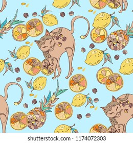 Fashion vector illustration. Seamless pattern with stylized cats, limes, pineapple and coffee. Fun surface background for fabric, interior, wallpaper, cover, cards, pet products.