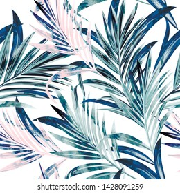Fashion vector illustration seamless pattern with tropical watercolor palm leaves, watercolor style