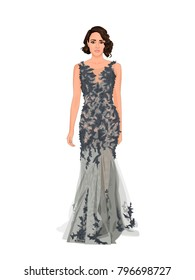 Fashion vector illustration of sexy adorable young lady with beautiful face with brunette retro hairstyle in long grey evening dress.Realistic cartoon fool body portrait of posing woman in ball gown