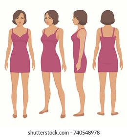 fashion vector illustration , woman isolated in dress, front, back and side view,
