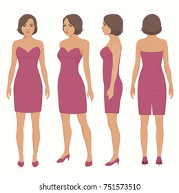 fashion vector illustration, woman isolated in dress, front, back and side view