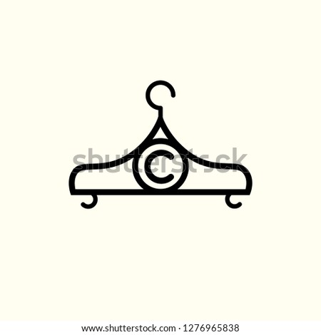 1e04992b4 Fashion vector logo. Clothes hanger logo. Letter C logo. Tailor emblem.  Wardrobe