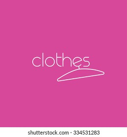 Fashion vector logo template concept with clothes hanger. Clothing corporate logo design in simple rounded style. Sale badge, banner or poster for boutique marketing company. Pink-purple background.