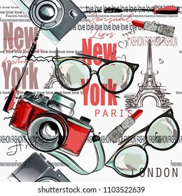 Fashion vector pattern lipstick, camera, glasses, words New York, London, Paris