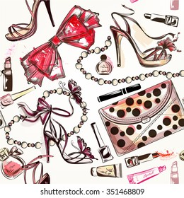 Fashion vector seamless background with pink hand drawn female shoes lipstick perfume and other cosmetics