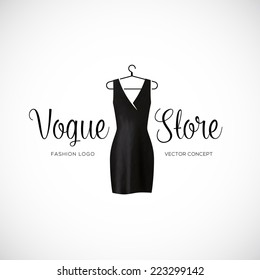 Fashion Vogue Store Logo Template With Black Dress Isolated