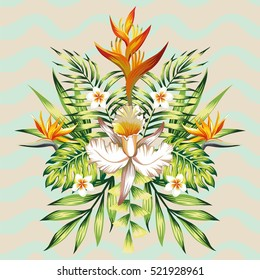 Fashion wallpaper mirror composition of tropical flowers frangipani, lotus, bird of paradise, Strelitzia, leaves banana palms and plants on the background of wavy gray mint color