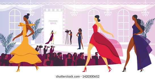 Fashion Week Event with Beautiful Women Models Walking on Podium, Presenting New Collection of Dresses. Audience Watching and Cameramen Broadcasting Presentation. Cartoon Flat Vector Illustration.