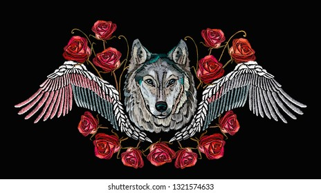 Fashion  wolf head red roses and wings, rock print for clothes, textiles, t-shirt design