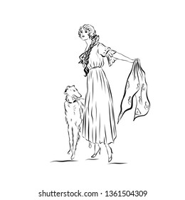 Fashion woman in elegant vintage clothes with a dogs. Hand drawn vector illustration isolated on white background. Tempura design for print, poster, card, book. Woman in long dress.