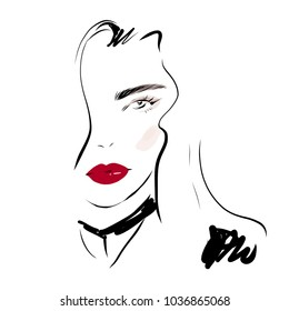 Fashion woman face portrait vector drawing. Beautiful girl with make up and red lips line art sketch on white background.