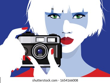 Fashion woman with foto camera on blue background. Vector illustration.