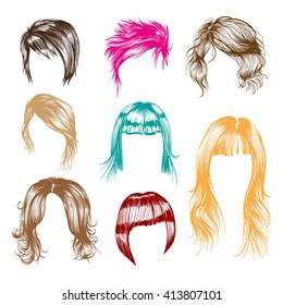 Fashion woman hairstyle set. Hand drawn vector illustration