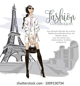 Fashion woman near Eiffel tower in Paris, fashion banner with text template, online shopping social media ads with beautiful girl. Vector illustration art