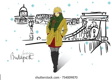 Fashion woman on winter street in Budapest, snow and warm clothes, vector
