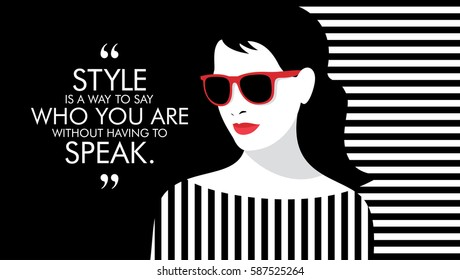 Fashion woman with quote. Creative flat vector illustration.