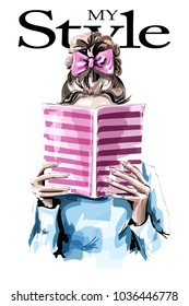 Fashion woman reading book. Cute girl with beautiful hairstyle. Sketch.