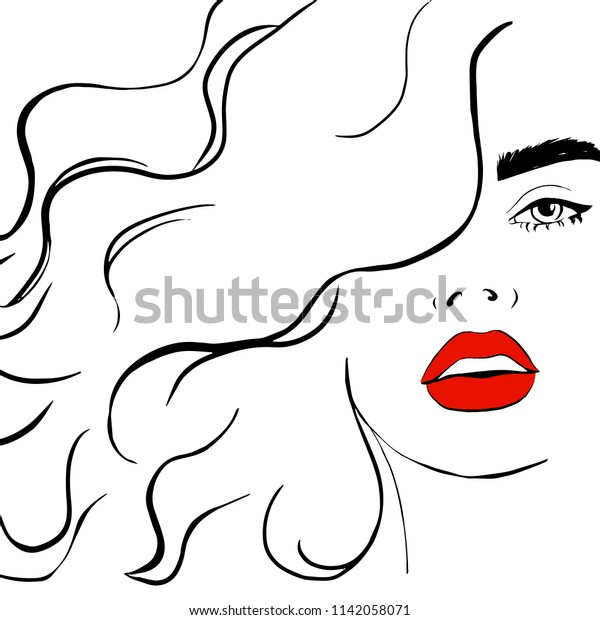 Fashion Woman Red Lips Sketch Fashion Stock Vector Royalty Free 1142058071
