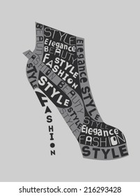 Fashion Woman  Shoe from words. Vector
