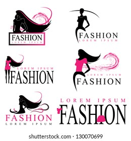 Fashion Woman Silhouette Isolated On White Background - Vector Illustration, Graphic Design Editable For Your Design. Logo Symbol