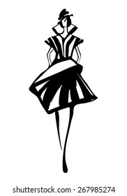 Fashion woman sketch hand drawn , vector illustration