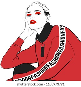Fashion woman sketch in red hoody. Beautiful woman hand drawn face fashion sketch. Hand drawn fashion young girl model in sport hoodie. Sketch sporty wear Vector illustration. Fashion, style, beauty
