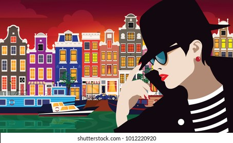 Fashion woman in style pop art. The girl on the street of Amsterdam, Holland. Vector illustration
