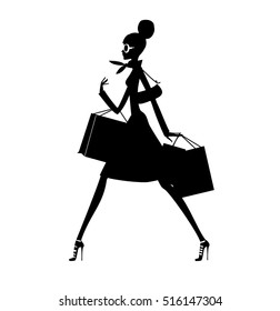 Fashion woman walking with the shopping bags. Vector illustration