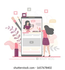 Fashion woman watching beauty blog and talking on smartphone. The female blogger talks about the latest cosmetics. Vlog on mobile screen. Community in social network. Trendy vector illustration