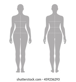 Fashion woman's solid template figure silhouette (front & back view) with marked body's sizes lines, vector illustration isolated on white background