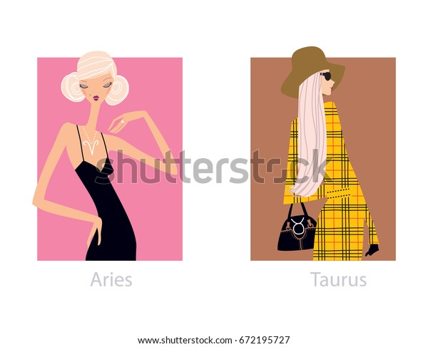 Fashion Women Aries Taurus Horoscope Signs Stock Vector (Royalty