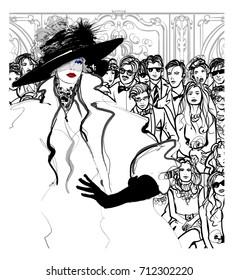 Fashion women model defile - vector illustration