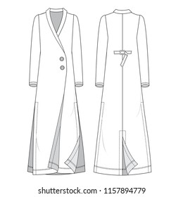 fashion women overcoat robe Isolated vector. Front and back views.