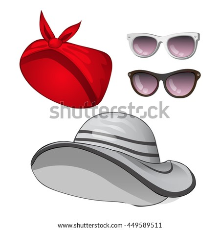 Fashion women s summer hats and sunglasses isolated on white background.  Vector cartoon close-up e964375797a1