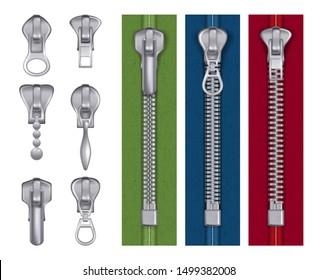 Fashion zipper. Steel fabric tailor items decorative seamstress handbag locks buckles vector realistic illustrations