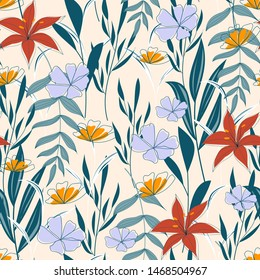 Fashionable abstract seamless background with colorful tropical leaves and flowers on delicate background. Vector design. Jungle print. Floral background. Printing and textiles. Exotic tropics. Summer