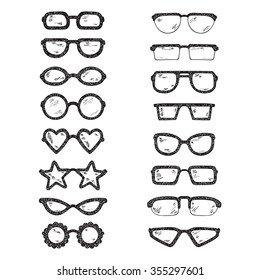 Fashionable accessories. Hand Drawn Doodle Glasses Set. Different shapes sunglasses, eyeglasses - Black and white Vector illustration