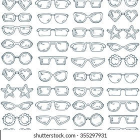 Fashionable accessories. Hand Drawn Doodle Glasses Seamless pattern. Different shapes sunglasses, eyeglasses - Black and white Vector illustration