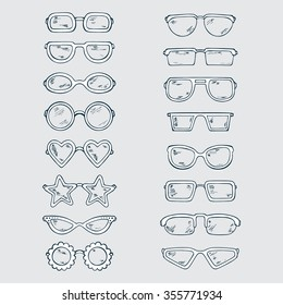 Fashionable accessories. Hand Drawn Doodle Glasses Set. Different shapes sunglasses, eyeglasses - Vector illustration