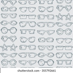 Fashionable accessories. Hand Drawn Doodle Glasses Seamless pattern. Different shapes sunglasses, eyeglasses - Vector illustration