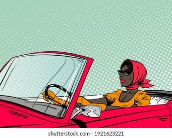 Fashionable afro american woman driving red cabriolet. Pop art comics retro design vector illustration.