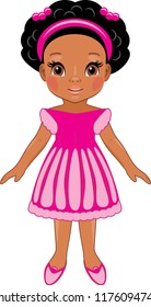 Fashionable afro little girl in pink dress. Cartoon drawing. Vector