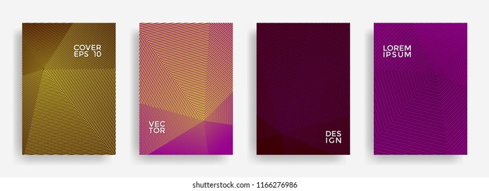 Fashionable annual report design vector collection. Halftone stripes texture cover page layout templates set. Report covers geometric design, business brochure pages corporate banners.