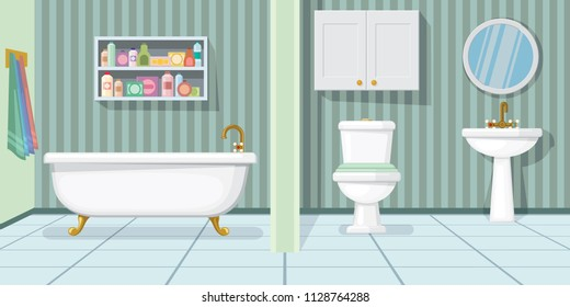 Fashionable bathroom vector illustration. Modern bathtub, toilet and sink in bathroom with stripped wallpaper. Interior illustration
