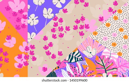 Fashionable colorful pattern mixed in different styles of floral seamless patterns.
