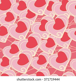 Fashionable decorative vintage valentine's day invitation background design/ Seamless texture with flourishes and hearts. Endless hearts pattern./ Gentle pink seamless pattern.