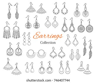 Fashionable earrings collection, vector hand drawn  doodle illustration, isolated on white background.