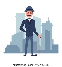 Fashionable elegant victorian gentleman dressed in 19th century fashion, flat vector illustration isolated on white background. Gentleman with a cane and a bowler hat.